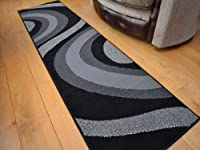 Trend Silver Grey And Black Wave Rug. 8 Sizes Available by Rugs Supermarket