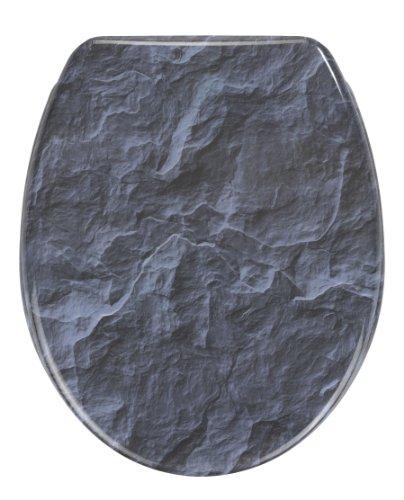 Wenko 21397100 Toilet Seat - Duroplast - Slate Rock Motif on Lid