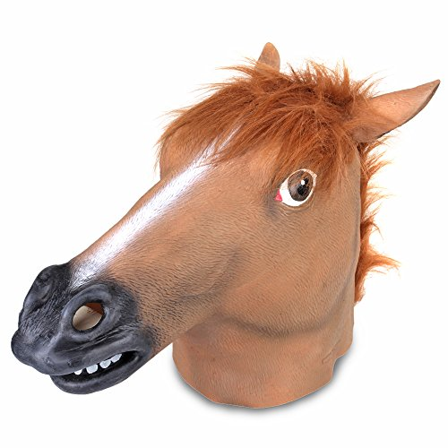 Flexzion Horse Head Mask Full Head Novelty Creepy Animal Costume Decoration Latex Masquerade for Halloween Cosplay Theme Party Theater Prop Role Play Fit Most Adult Men Women