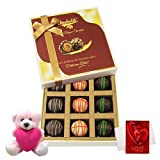 Valentine Chocholik Premium Gifts - Stunning Creation Of Truffles With Teddy And Love Card