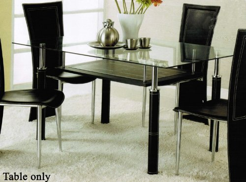 Cheap Dining Table with Glass Top and Leatherette Legs in Silver Finish by Acme (VF_AM14045)