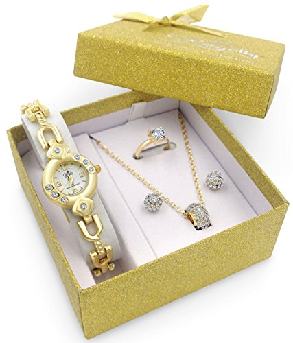 New! Gold Watch Jewelry Gift Set Woman Girlfriend