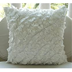 Ruffles In Love - Throw Pillow Covers - Crushed Silk Pillow Cover with Frills