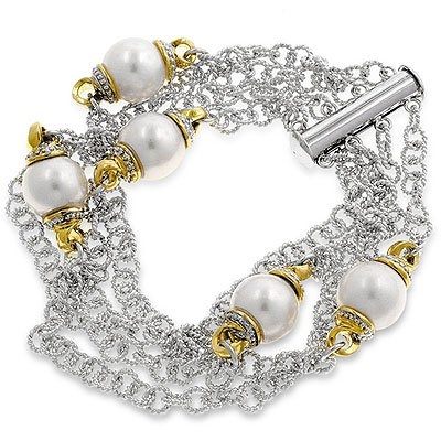 14k Gold and White Gold Rhodium Bonded Rope Chain Fashion Braclet with Shell Pearl and Slide Clasp in Tutone