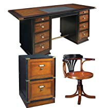 Hot Sale Captain's Desk with Purser's Chair and Campaign Filing Cabinet, Black and Honey - Office Nautical Furniture Kit, Solid Wood Desks with Chair and Filing Cabinet, Black and Honey - Working Desk with Chair and Filing Cabinet