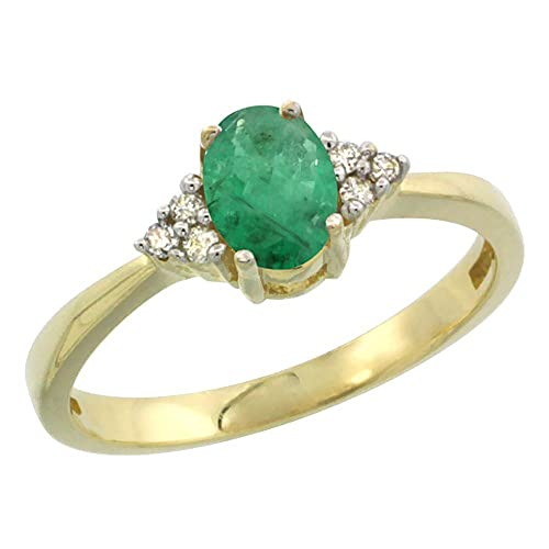 14ct Yellow Gold Natural HQ Emerald Ring Oval 6x4mm Diamond Accent, sizes J - T
