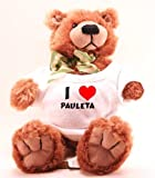 Plush Teddy Bear (Molasses) with I Love Pauleta (first name/surname/nickname)
