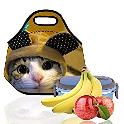 Lunch Tote, OFEILY Lunch boxes Lunch bags with Fine Neoprene Material Waterproof Picnic Lunch Bag Mom Bag (Cat)
