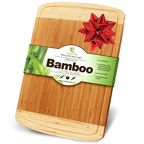 Midori Way Thick Bamboo Wood Cutting Board with Juice Grooves - Extra Large (18x12 -Inch) (Bamboo Leaf Cheese Board compare prices)