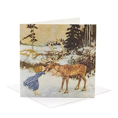 V&A Christmas Cards - Gerda and the Reindeer (Pack of 10, Square)||EVAEX