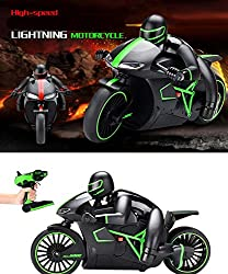Catterpillar High Speed Professional 2.4 GHz RC Motorcycle Bike with Built-in Gyroscope & Bright LED Headlights (Green)