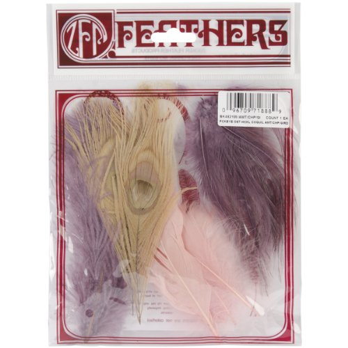 Zucker Feather Products Dyed Ostrich Decorative Feather Peacock Hackle Coquille Assortment