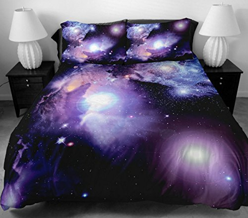 Anlye Beautiful Girls Bedding Set 2 Sides Printing Design Purple Out Space Bed Sheets With 2 Silk-Like Pillow Cases Queen front-607169