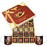 Chocholik Belgium Chocolates - Lovely 20pc Mix Assorted Chocolate Box With Diwali Special Coffee Mugs - Gifts...