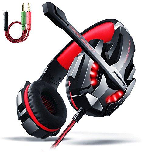 Cuffie da Gioco per PS4, Aoso Cuffie Gaming Headset Auricolare con Microfono Stereo Bass Luce LED Regolatore di Volume Cancellazione di Rumore per PC Nero e Rosso Con Imballo