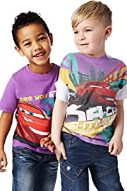 2 Pack Crew Neck Disney Cars T-Shirts