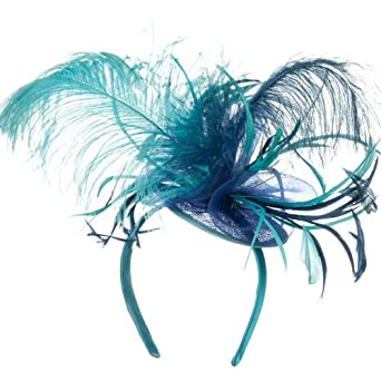 Ostrich Feather Fascinator - Turquoise Navy