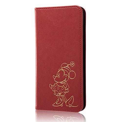 レイ・アウト iPhone7 Plus ケース ディズニー 手帳型 レザーケース(ICカード /ストラップホール) ホットスタンプ ワンポイント/ミニーマウス RT-DP13I/MN