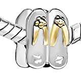 Pugster Stylish Flip Flop Charm Bead Fits Pandora Chamilia Biagi Charms Bracelet
