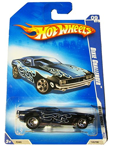 HOT WHEELS 2009 REBEL RIDES 09/10 DIXIE CHALLENGER DARK BLUE WITH SILVER FLAMES 145/190 - 1