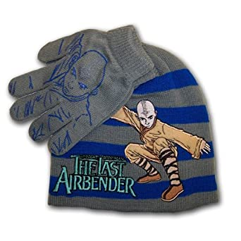 Avatar, The Last Airbender, Boy's Striped Beanie Knit Hat and Glove Set (4-7)