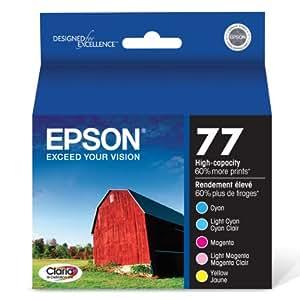 Epson T077920 Claria Hi-Definition 77 High-capacity Inkjet Cartridge Color Multipack-1 Cyan/1 Light Cyan/1 Magenta/1 Light Magenta/1 Yellow