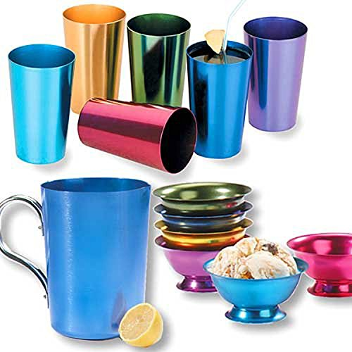 RETRO ALUMINUM TUMBLERS NON BREAKABLE CUPS SET OF 6 (Aluminum Cups compare prices)
