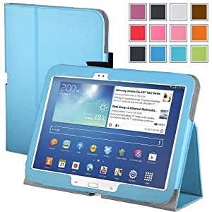 Maxboost Leather Case for Samsung Galaxy Tab 3 10.1 Inch Blue - Book Folio Style with Built-in Stand, Wallet Card Holder, Stylus Holder, Hand Holding Strap, Memory Card Holder