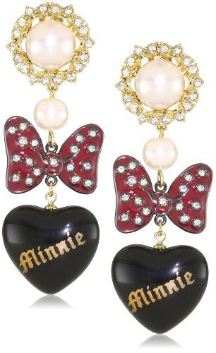 Disney Couture - Orecchini pendenti in metallo placcato oro giallo 10 kt con ematite, motivo fiocco di Minni con cuore laccato