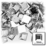 The Crafts Outlet 144-Piece Flat Back Loose Square Rhinestones, 12mm, Crystal Clear