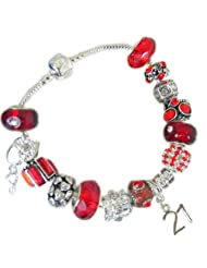 Treasured Charms & Beads 21St Birthday Antique Red & Silver Charm Bracelet Size 20cm Gift Boxed With Gift Card