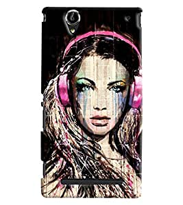 Blue Throat Girl With Headphones Printed Designer Back Cover/Case For Sony Xperia T2