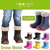 (プーキーズ)POOKIES Snow Boots PK-EB510/キッズ・ジュニアサイズ 超軽量/全面ボア貼り/完全防水ブーツ/着脱インナーブーツ 21-22cm ブラック pk-eb510-black-2122