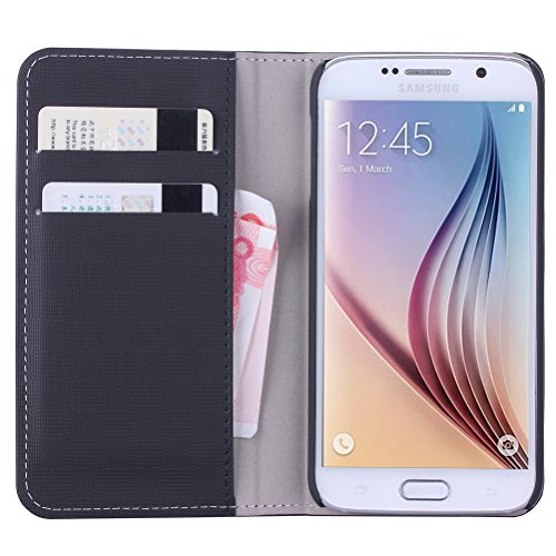 WAWO Samsung Galaxy S6 Case, PU Leather Wallet Flip Cover Case with Credit Card ID/Pocket Money Slot for Samsung Galaxy S6 - Black