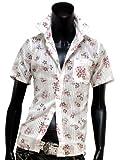 シャツ 半袖 花柄 ストライプ ドビー キレイメ ドレスシャツ 美シルエット A-32-S154024 SPCD