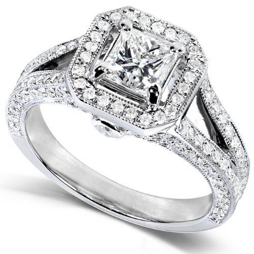 1 1 3 Carat TW Certified Princess Cut Diamond Engagement Ring in 14k White Go