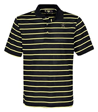 NCAA Men's Vanderbilt Commodores Feed Stripe Polo (Black/Vegas Gold, Large)