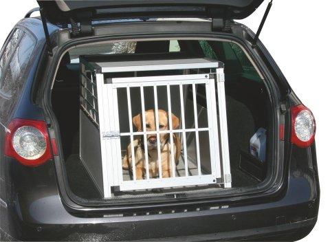 Kerbl mobile Alu-Transportbox für Hunde in 2 Größen wählbar: 75x55x50cm oder 92x65x65cm, vorn und hinten abgeschrägt, mit Gitter-Tür Aluminium-Käfig-Auto-Box Hundekäfig Aluminiumkäfig Hundebox Kfz-Alubox Aluminiumbox für Kofferraum Katzen Transportkäfig Katze Hunde leicht,stabil,sicher Hundetransportbox KfZ-Hundekäfig