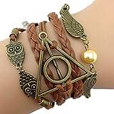 JKR Harry Potter Bracelet 3 en 1 avec pendentifs Hedwige, Vif d'or et logo Reliques de la Mort