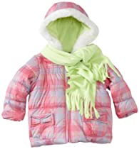 Pacific Trail - Kids Baby-Girls Infant Plaid Jacket With Scarf, Pink, 24 Months