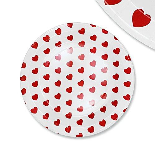 48x pappteller papierteller herz einssein 23cm wei rot papiergeschirr pappgeschirr bunte. Black Bedroom Furniture Sets. Home Design Ideas