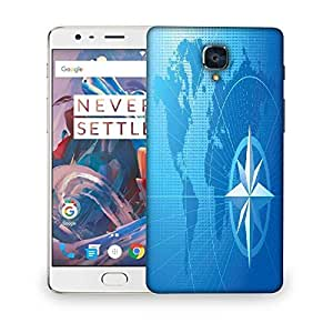 Snoogg blue compass vector background Designer Protective Back Case Cover For OnePlus 3