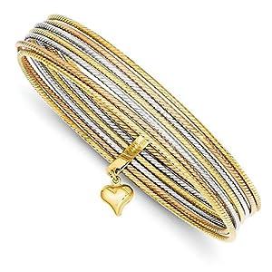14K Gold Tri-color Slip On 7 Bangle Bracelets (8 Inches)