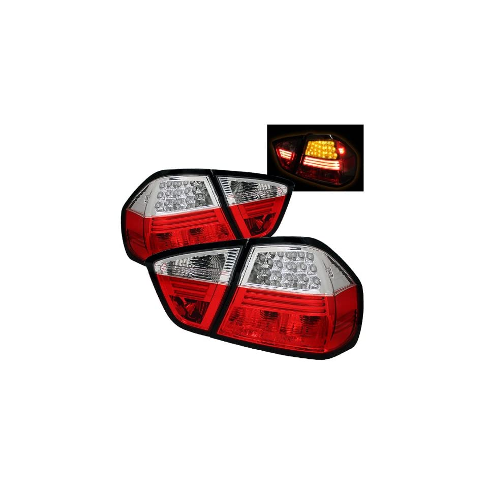 BMW E90 325i 328i 330i 335i 06 07 08 4DR LED Tail Lights + Hi Power White LED Backup Lights   Red Clear (Pair)