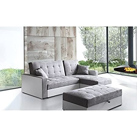 HAMPTON Sofá de esquina reversible convertible piel y tejido 6 plazas, 224 x 170 x 86 cm, color blanco y gris