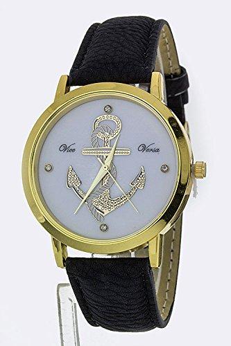 Trendy Fashion Jewelry Anchor Crystal Fashion Watch By Fashion Destination | (Black)