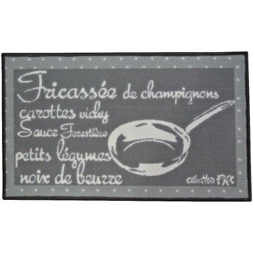 Promobo -Tapis de cuisine mode tendance gourmand Recette Fricassée Champignons 45x75cm