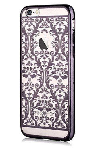 Iphone 6 4.7 & Iphone 6s,devia® Crystal Baroque Series Unique & Fashion Gradient Design Decorated with Original Swarovski Element Hard Transparent Case for Iphone 6 4.7 & Iphone 6s (Black Baroque)