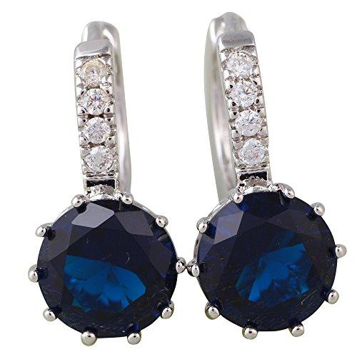 Argento rotonda zaffiro blu pietre marca femmina gioielli orecchini a cerchio per donna e433