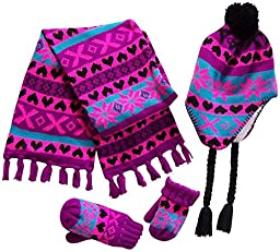 N\'Ice Caps Little Girls And Infants Sherpa Lined Snowflake Knitted Set (2-4yrs, Black/Neon Pink/Purple/Turq)